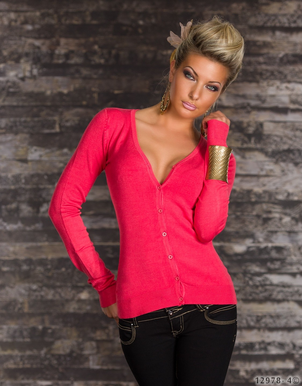 e40b7d16a147 Dámsky sveter 12978 - červený